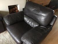 Dark brown Italian leather armchair