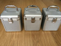 3 * CD/DVD Aluminium look Flight DJ Case Holder Disc Storage Carry Box Lock Suitcase