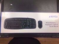 XENTA WIRED KEYBOARD AND MOUSE WITH RECEIPT