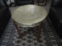 """Antique Islamic """"MOSQ"""" table. reversable brass top, lovely colour, folds flat,"""