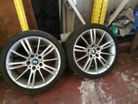 BMW E90 E91 E92 E93 E46 MV3 ALLOY WHEEL WITH GOOD TYRE CAN POST ANYWHERE IN UK ST