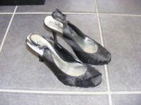 Black Satin Sling Back Shoes Size 4 Worn Once.
