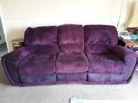 Purple chenille scs 3 seater sofa with 2 recliner seats in good condition