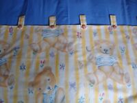 Pair of Designer Children's / Baby's Curtains with Matching Lightshade and Tie-backs