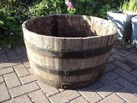 large wooden barrel ideal for planting up