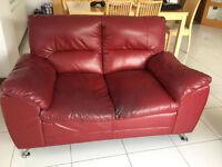 2 X 2 Red Leather Sofas FREE FREE FREE