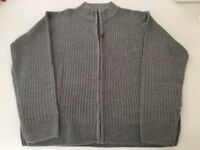 Man's Large 42/44 Grey Zip Cardigan (New)