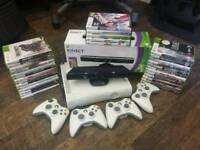Massive Xbox 360 kinect bundle - 4 controllers 30+ games kinect WiFi hd
