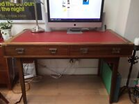 "Danish ""dam skrivebord"" desk with brass detail and red leather top"