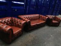 SUPERIOR 3 piece suite CHESTERFIELD antique vintage leather excellent condition