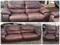 ** BROWN SOFT LEATHER 3+2+1 SUITE ** CAN DELIVER **