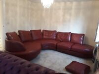 Previously loved red leather corner sofa , good condition, 3 mtres x 2.7 mtres.