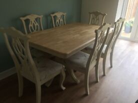 Solid Oak professionally upcycled dining table and 6 chairs