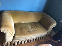 Antique yellow mustard sofa 2 seaters