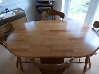 Wlooden dining table and 4 chairs
