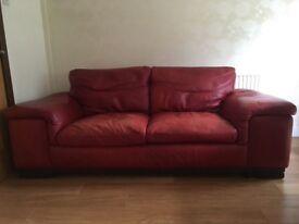 Leather Sofa - Contempo Como - Red