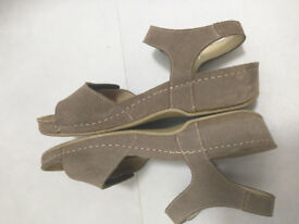 wedge brown Sandals by Rohde- real suede