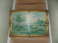 2 Oil Painting OLD Textured Prints ,John Constable and Henry H Parker ,Peer Art