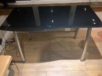 Black Glass Desk with Metal Base Frame