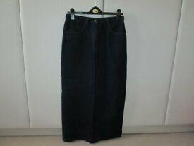 Bay Trading Long Dark Blue Denim Straight Skirt, pockets front and back, size 12