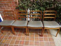 VINTAGE Mid Century Teak Ladder Back Dining Chairs x 4