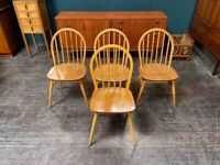 4x Windsor Dining Chairs in Elm & Beech by Ercol. Retro Vintage Mid Century