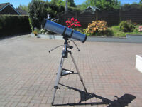 Skywatcher 5 inch reflector scope. Equatorial drive. 2 eyepieces. Moon filter. Excellent condition.