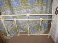 Cream and Brass metal bed frame for single bed with shell type detail