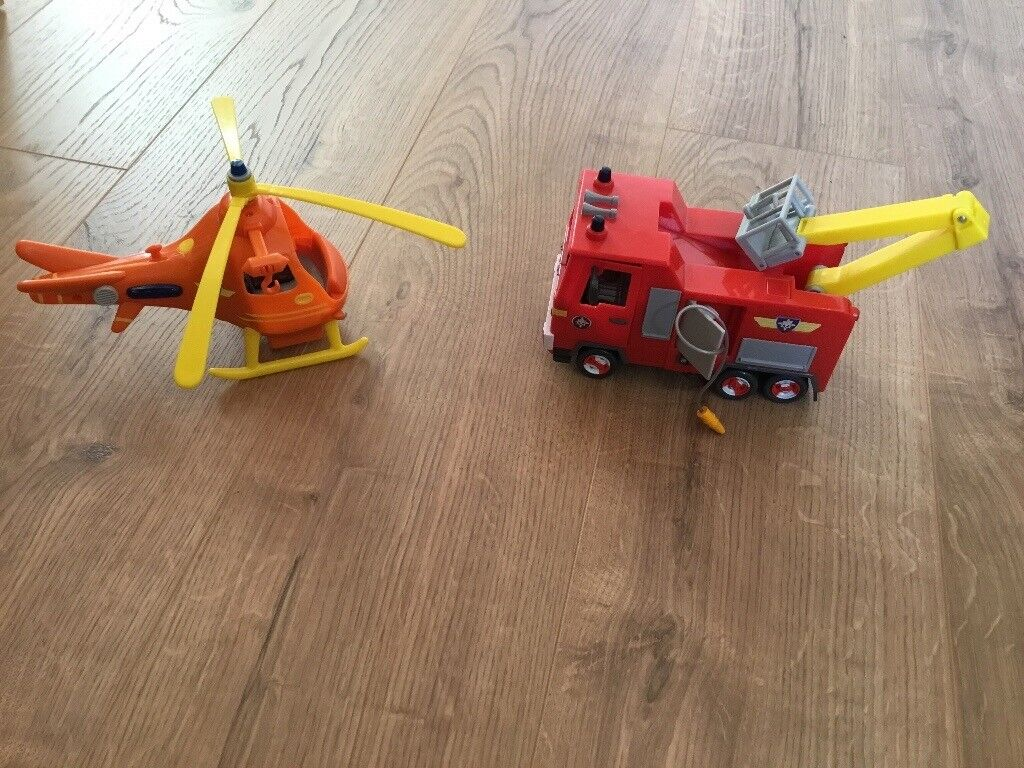 Fireman Sam fire engine and helicopter