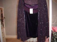 ladies 2- piece purple beaded jacket set size 24 to 26