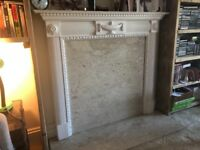 Fireplace cover with wooden frame