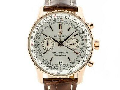 Breitling Navitimer 125th Anniversary 18k Rose Gold Automatic Watch Box & Papers