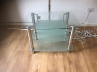 Lovely silver and glass tv stand, collection only
