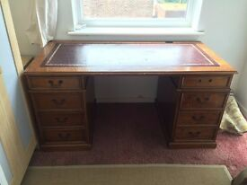 Beautiful leather antique writing desk