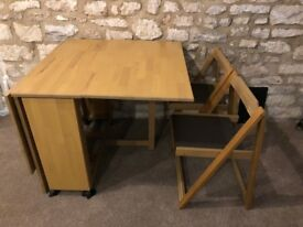 Wooden fold out table and chairs