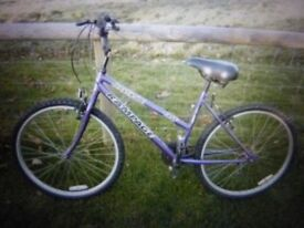 Ladies Bike - Purple, Universal Rampage OST, 15 gear, 26 inch wheel bike in good condition