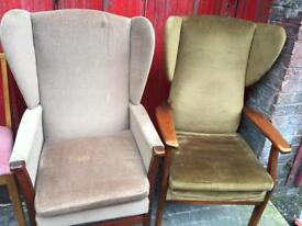 Vintage retro antique Art Deco wing back dusky pink green wooden arms armchairs