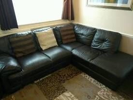 Chocolate Brown Leather Corner sofa and Armchair