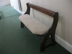 VINTAGE ORNATE PINE UPHOLSTERED PEW. WIDE SEAT. SITS 5-6. 4 AVAILABLE. VIEWING/DELIVERY AVAILABLE