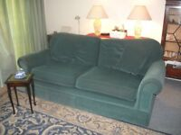 Three Seater Dark Green Draylon Sofa