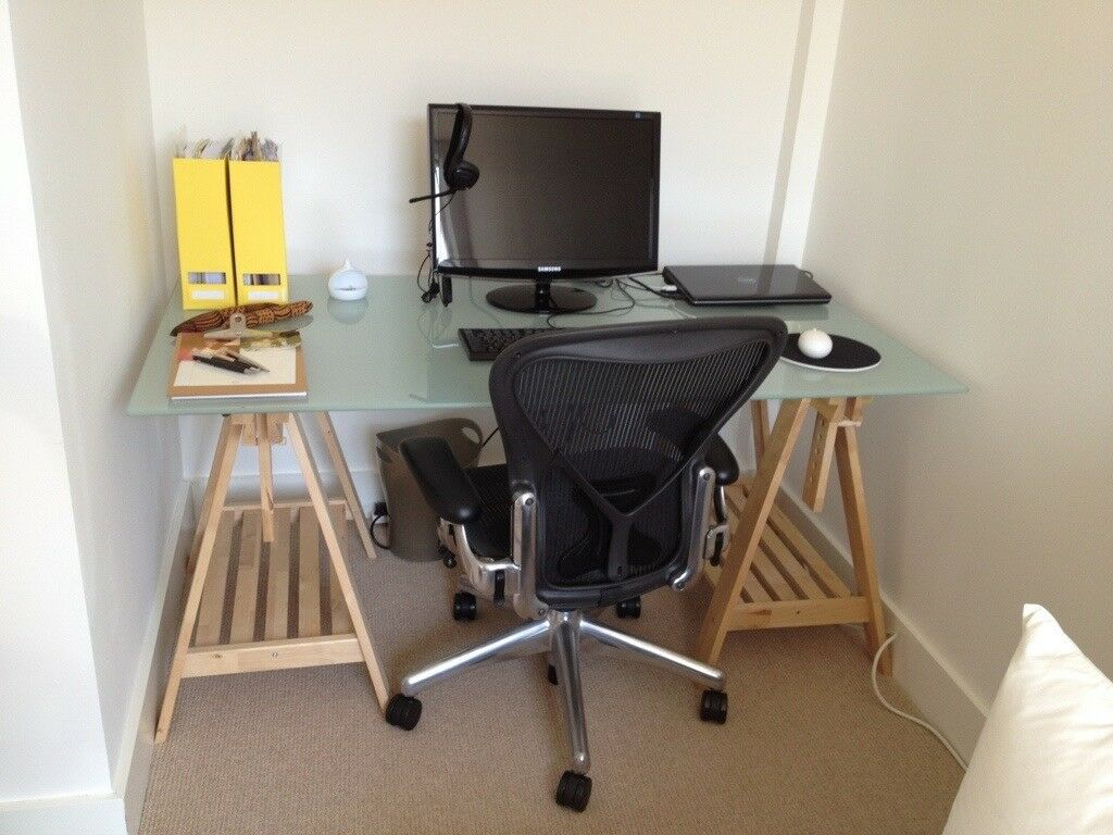 Ikea Glass Table Top With Two Finnvard Trestles In Camden Town