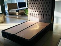 ENZO Plush Velvet Storage In Double / King Size Bed Frame And Different Mattress