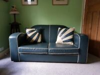 1930 style hand made Scandecor large 2 seater leather sofa settee