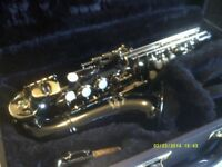 A CURLY SOPRANO SAXOPHONE , BLACK with GOLD KEYS , UNUSED In MINT CONDITION