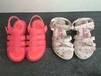 2 x Pairs of Girls Sandals (Size 9)