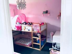 Ikea Kura bed with pink tent without mattress
