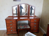 Dressing table and stool and mirror