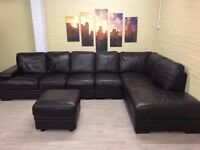 Modular Brown Leather Corner Sofa