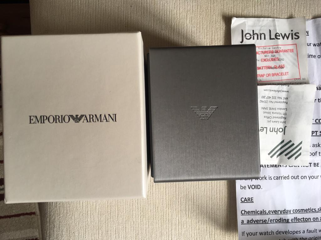 Cheap Emporio Armani Watch brand newin Hinckley, LeicestershireGumtree - I have a brand new Armani watch which I received as a gift. Paid £450, still have the original receipt From Jhon Lewis. Want £350 bargain!! Have the box and all accessories, authenticity etc. Great as a gift, only had it for about a week! Model;...