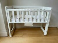 Troll USED White Bedside Crib Drop Side With Organic Mattress & Liners Coll SW13